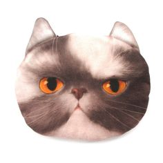 Grey and White Kitty Cat Face Shaped Coin Purse Make Up Bag with Yellow Eyes 62b7b0d324c2c
