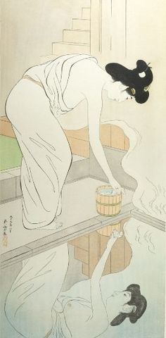 Hashiguchi Goyo : Woman Preparing to Bathe, Her Image Reflected in the Water, Taishô period, dated 1918 month of Taishô - Harvard Art Museum Japanese Artwork, Japanese Painting, Japanese Prints, Harvard Art Museum, Museum Of Fine Arts, Art Indien, Art Asiatique, Art Japonais, Japan Art