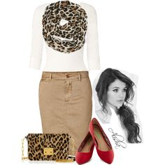 modest is hottest love the scarf , top ,skirt....I would do a neautral flat...red is too much with animal print for me.