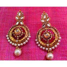 Fine golden finish & exquisite meenakari white pearl polki earring sh53w
