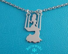 FREE SHIPPING Girl on a swing pendant necklace