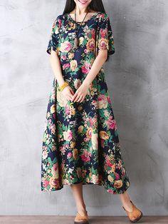 Gracila Bohemian Women Vintage Floral Printed Loose Short Sleeve Maxi Dresses