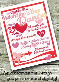 Valentine's Day Dance Benefit ~ Community Event ~ 5x7 Invite ~ 8.5x11 Flyer ~ 11x14 Poster ~ 300 dpi Digital Invitation by DitDitDigital on Etsy