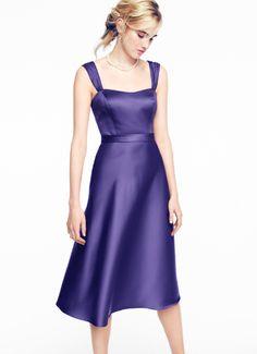 David's Bridal Satin Wide Strap Tea Length Bridesmaid Dress. Style F14556 in Regency purple.