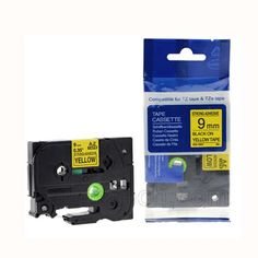 """Brother TZe-S621 9mm (0.375"""") Black on Yellow Strong Adhesive Compatible Label Tape"""