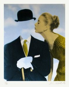 'Kissing Magritte' is a homage to the Belgian surrealist René Magritte.   In this screen printed collage Joe Webb removes the bowler hat wearing gentleman's face to reveal Magritte's signature clouds in the background. It is an acknowledgement that although the artist is no longer with us his influence continues on.