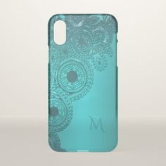 Metallic Teal Lace Effect Monogram iPhone X Case - elegant gifts classic stylish gift idea diy style