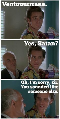 My thoughts every time my boss calls me, lol. Jim Carrey Meme, Funny Movies, Good Movies, Ace Ventura Memes, Ace Ventura Pet Detective, Funny People, Stupid People, Funny Things, Random Things
