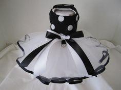 Dog Tutu XXS black  With White Polka Dots  by NinasCoutureCloset, $30.00