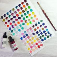 """263 Likes, 20 Comments - Village In The Forest (@village_in_the_forest) on Instagram: """"I made 122 colours from 12 bottles of Dr.Ph. Martin's hydrus watercolour bottles. I feel like the…"""""""