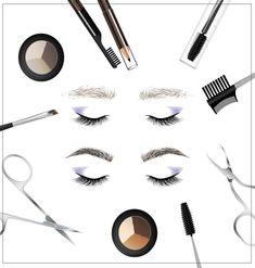 A set of tools and accessories for the care of eyebrows. Eyebrow Pencil, Eyebrow Makeup, Beauty Makeup, Eyebrow Growth Oil, Best False Eyelashes, Makeup Illustration, Makeup Training, Pop Art Women, Waterproof Eyebrow