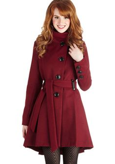 Winterberry Tart Coat in Burgundy by Steve Madden - Red, Solid, Long Sleeve, Buttons, Pleats, Fall, Winter, Long, Red, 3, Top Rated