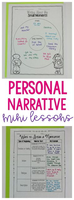 Get ideas for personal narrative mini lessons: moment in time, expanding sentences, how to start a narrative, transition words, and mini more!