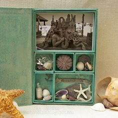 Tim Holtz project. Create a beach memories box with photos, shells and sand.