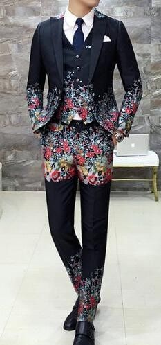 Mens Prom Suits With Pants 3 piece Slim Fit Wedding Suit Slim Fit Black Floral Terno