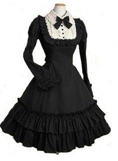 Free shipping Lolita black dress Cosplay Costume maid dress japanese anime product CCF0051
