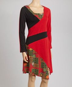 Red & Black Graphic Dress by Coline USA on #zulily