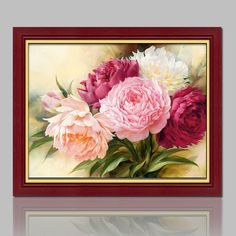 Diamond Painting Cross Stitch Beads Beauty Peony Flowers Embroidery Square Rhinestone Wall Decor //Price: $15.84 & FREE Shipping //     #crafts #sewing