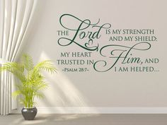 Christian Wall Decal. The Lord Is My Strength - CODE 221 Scripture Vinyl Wall Art – Bible Wall Quotes – Christian Quotes – Christian Wall Art – Religious Quotes – Christian Wall Quotes – Religious Wall Quotes – Religious Decals - Vinyl Wall Quotes – Decal Quotes – Quote Wall Decal – Decal Wall Decor – Vinyl Wall Art Quotes – Vinyl Lettering Quotes – Vinyl Decals – Bedroom Wall Decals