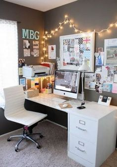 Lights around your desk are great ways to decorate your dorm room!