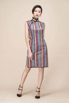 Colorful stripes short qipao dress