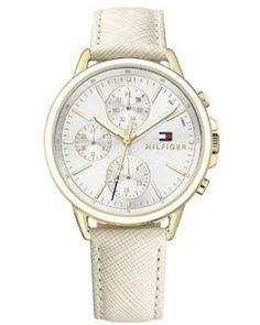 Reloj de mujer Tommy Hilfiger blanco multiesfera con correa de cuero #relojesmujer #relojes