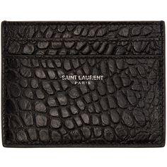 Saint Laurent Black Croc-Embossed Card Holder ($245) ❤ liked on Polyvore featuring men's fashion, men's bags, men's wallets and men
