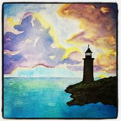 Watercolor #Lighthouse #ocean #sihlouette #storm #clouds. Painting by Tiffany Manson.