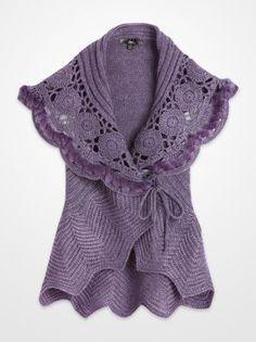 Women's Sweaters - Sioni Purple Knitted Faux Fur Sweater Vest - K Fashion Superstore