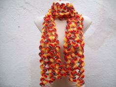 Hand crochet  Scarf  Yellow Orange Brown   Long  Winter by nurlu, $30.00