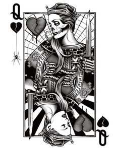"""Queen of Hearts/Queen of Hurts. Not sure why the """"dead Queen"""" is on top of the living one... I would flip this card the other way then get it tattooed."""