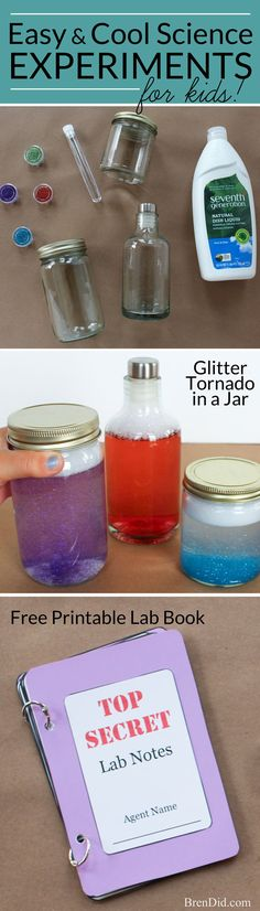 Cool Science Experiments for Kids – Get your kids interested in STEM ? science, technology, engineering, and math with these easy science projects using physics and chemistry. Create a glitter tornado (Cool Summer Science Experiments) Easy Science Projects, Cool Science Experiments, Stem Science, Preschool Science, Science Classroom, Science Lessons, Teaching Science, Science For Kids, Science Activities