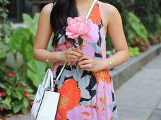 Floral Maxi Dress & Pink Peony