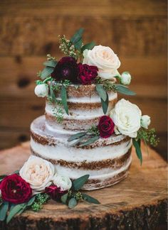 Wedding Cakes Discover Live Edge Oak Customizable Platforms Ask for a Custom Quote Prior to Purchase Small Wedding Cakes, Floral Wedding Cakes, Wedding Cake Rustic, Beautiful Wedding Cakes, Wedding Cake Designs, Beautiful Cakes, Elegant Wedding, Floral Cake, Rustic Cake