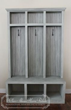 Entryway Mudroom Locker & Bench 3 lockers by furniturebyACAHR, $850.00 love the rustic distressed gray - great Shabby Chic look! by patrica