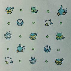 #MySketchbook #CH #Page #43 #pokemon #water #starter #pattern #squirtle #totodile #mudkip #piplup #oshawott #froakie #drawing #sketch #dots #pop #ink #black #blue #green #yellow #design #graphic #art #MyArt