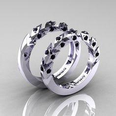 Modern Italian 14K White Gold Black Diamond Wedding by artmasters, $1729.00