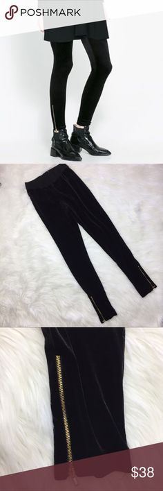 "Zara Basic Black Velvet Gold Ankle Zipper Leggings •Zara Basic Black Velvet Gold Ankle Zipper Leggings •Women's Medium •In excellent used condition; missing fabric content/ care instruction tag •All measurements are approximate: 12.5"" across waist plus plenty of stretch, 27"" inseam Zara Pants Leggings"