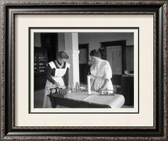 Two Girls in Chemistry Lab, Lincoln High School, Seattle, 1909 Giclee Print by Ashael Curtis at Art.com