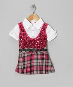 Take a look at this Hot Pink Layered Dress - Infant, Toddler & Girls by Nannette on #zulily today!