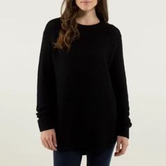 """Lululemon Athletica Passage Sweater Black 8 NWT Oversized, chunky-knit sweater with merino wool yarns in a size 8- never worn. With tags. Soft sweater knit fabric has cashmere-light feel. Longer-length """"designed to keep you warm and keep your asana covered."""" lululemon athletica Sweaters Crew & Scoop Necks"""