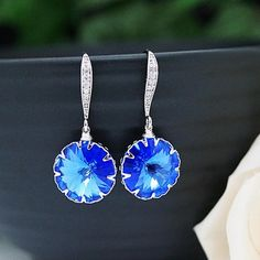 Sapphire Swarovski Rivoli Earrings - Earrings Nation