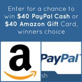 $40 Cash or Amazon Gift Card Giveaway  Open to: United States Canada Ending on: 01/06/2016