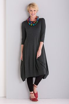 Sometimes it's the simplest details that make a piece indispensable—like the flattering bodice shaping and distinctive scooped hem of this superlatively easy-to-wear dress. Kati Dress by Comfy USA: Knit Dress available at www.artfulhome.com