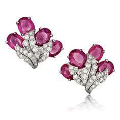 verdura ruby and diamond earrings