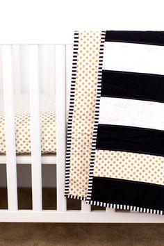 Modern Striped Crib Quilt Black and White Quilt Crib by KBCute