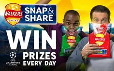 There are prizes to be won every day with Walkers Snap & Share competition. There are prizes in total, including: 6 pairs of tickets to the Champ Free Football, Football Stuff, Walker Art, Free Stuff, Free Food, Competition, The Unit, Drink, Day