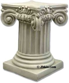 Greek column pedestal with a ionic capital 18 inches tall and 14 inches wide. Made of durable fiberglass and can go outdoors or indoors with several finish options available