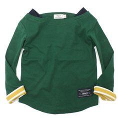 TAPPET(タペット):ボートネック無地ロンT グリーン(GR) の通販【ブランド子供服のミリバール】