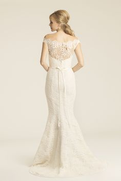 Amy Kuschel Pfeiffer lace wedding gown- available at Something White
